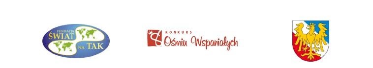 Zdjęcie przedstawiające logo Fundacji świat na tak, Ośmiu Wspaniałych, herb powiatu prudnickiego